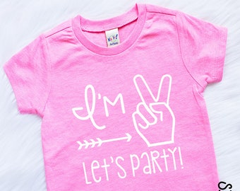 9d47259bb Im Two Lets Party - Second Birthday - Second Birthday Shirt - 2nd Birthday  Shirt - Girls 2nd Birthday Shirt- Girls Second Birthday Outfits