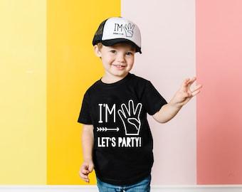 Boys 4th Birthday Shirt- Im Four Lets Party - Boys 4th Birthday - 4th Birthday Outfit - Fourth Birthday Shirt Boys