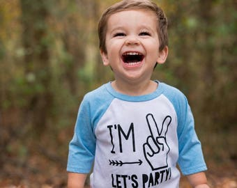 Im Two Lets Party - 2nd Birthday Shirt Boy - 2nd Birthday Shirt- Second Birthday Shirt - Second Birthday Shirt Boy - Im 2 Lets Party - Im 2