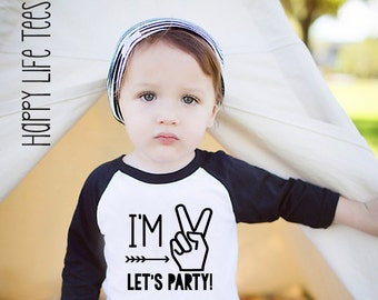 Birthday boy shirt 2 - Im two lets party -  Im two shirt - Birthday shirts for boys - 2nd birthday shirt - Boy birthday outfit - Im 2