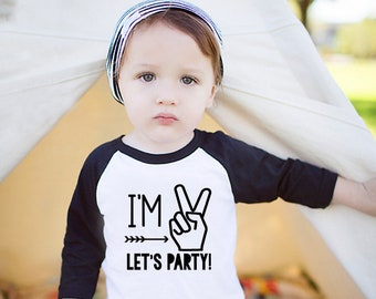 I'm Two Lets Party - Two Year Old Birthday Shirt Boy - 2nd Birthday - Birthday Boy Shirt 2 - 2nd Birthday Boy - Boys 2nd Birthday Shirts