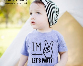Im Two Lets Party - Boys Second Birthday Shirt - 2nd Birthday Shirt Boy - 2nd Birthday Shirt - Boys Second Birthday - Second Birthday Boy