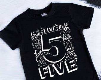 Fifth Birthday Shirt 5th Boy Boys 5 Tee Five