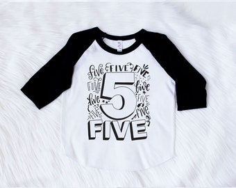 5th Birthday Shirt Fifth Boy Boys 5 Tee Five