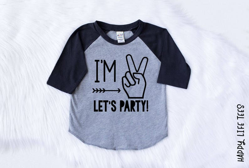Im Two Lets Party Boys Second Birthday Shirt Boys 2nd Etsy