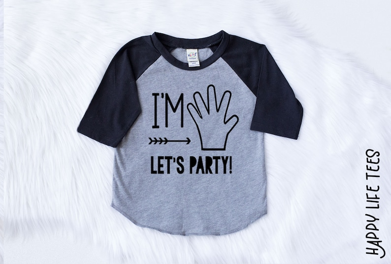 Boys Fifth Birthday Shirt Im FIVE Lets Party 5th