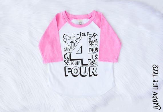 Fourth Birthday Shirt Girl Four Year Old 4 4th Outfit