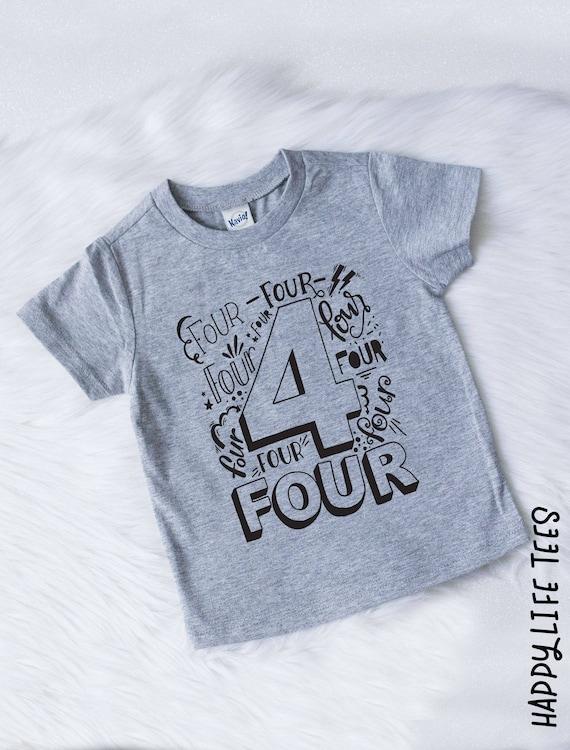 4 year old 4th Birthday Shirt shirt four birthday outfit boy cars birthday party boy red yellow royal aqua fourth birthday shirt