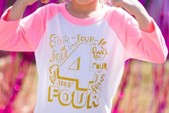 Fourth Birthday Shirt Girl Four Year Old 4