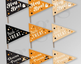 Halloween Fall Autumn Pennant Flags Printable Hey Boo Trick or Treat Hocus Pocus Sign Banner Instant Download