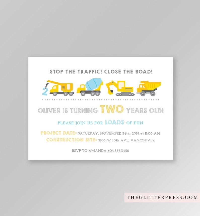 Construction Party Birthday Invitation Printable boy yellow image 0