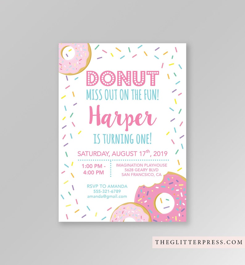Donut Birthday Invitation Printable Girl First Birthday Party image 0