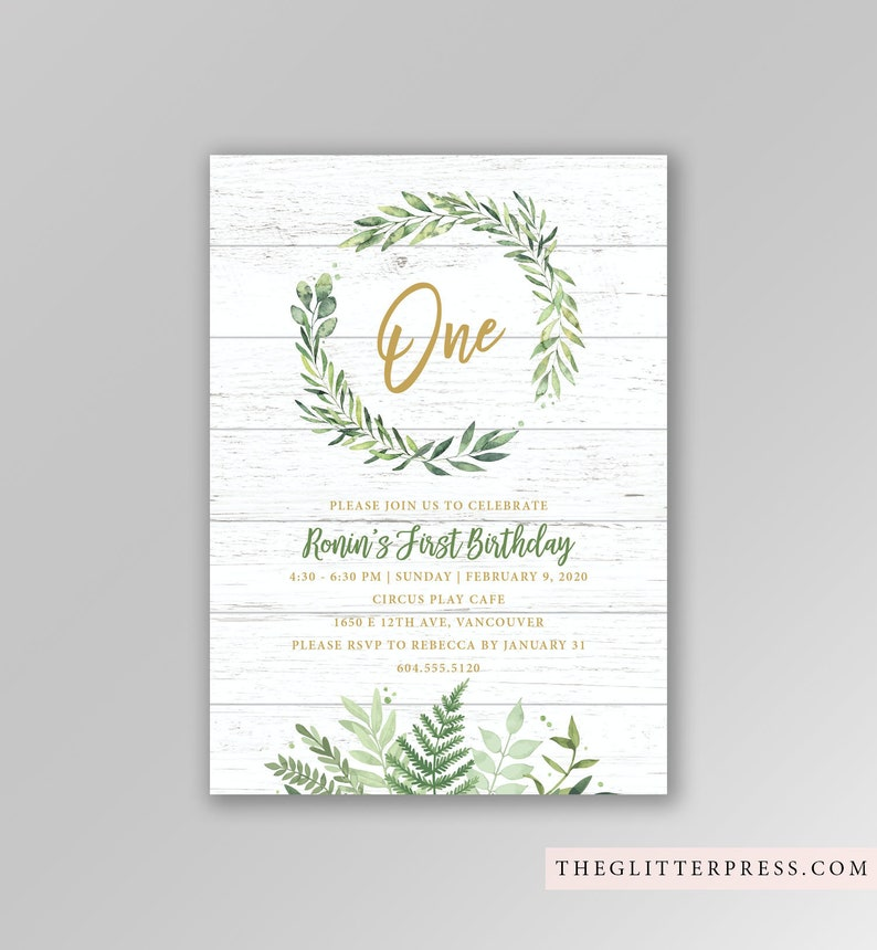 Neutral Woodland Greenery Foliage Invitation Printable Custom image 0
