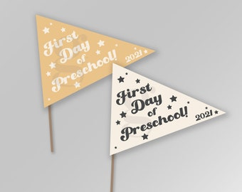 First Day of Preschool Back to School Pennant Flags Printable Banner Instant Download