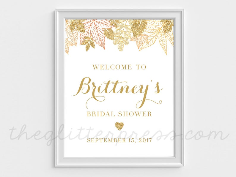 Gold Fall Leaves Shower Welcome Sign Printable Fall in Love image 0
