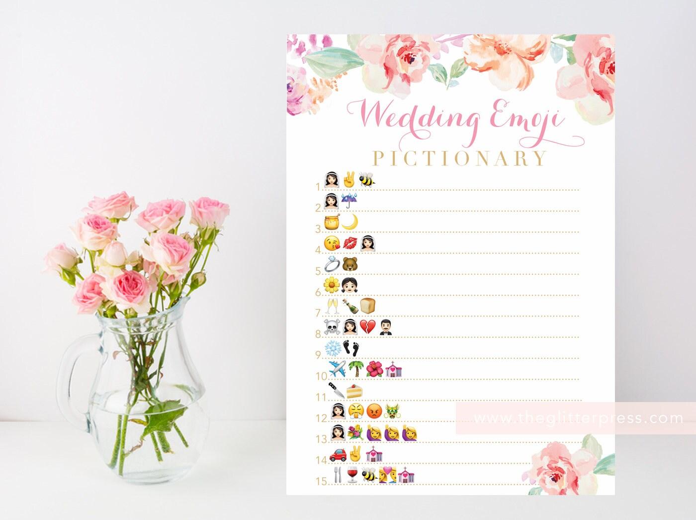 Floral Bridal Shower Game Wedding Emoji Pictionary Printable Etsy