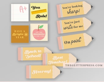Back to School Printable Tags Stickers Notes Homeschool Grade School First Day of School Gift Best Teacher Tags Lunch Notes Printable Bundle