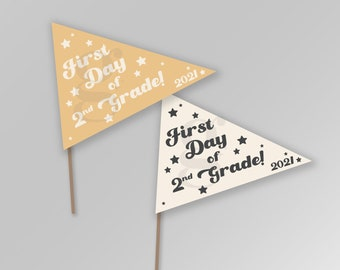 First Day of Second Grade 2nd Grade Back to School Pennant Flags Printable Banner Instant Download