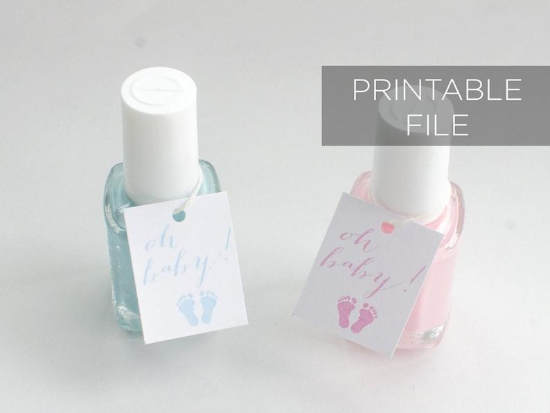 Oh Baby Nail Polish Favor Tags printable Baby Shower Gender image 0