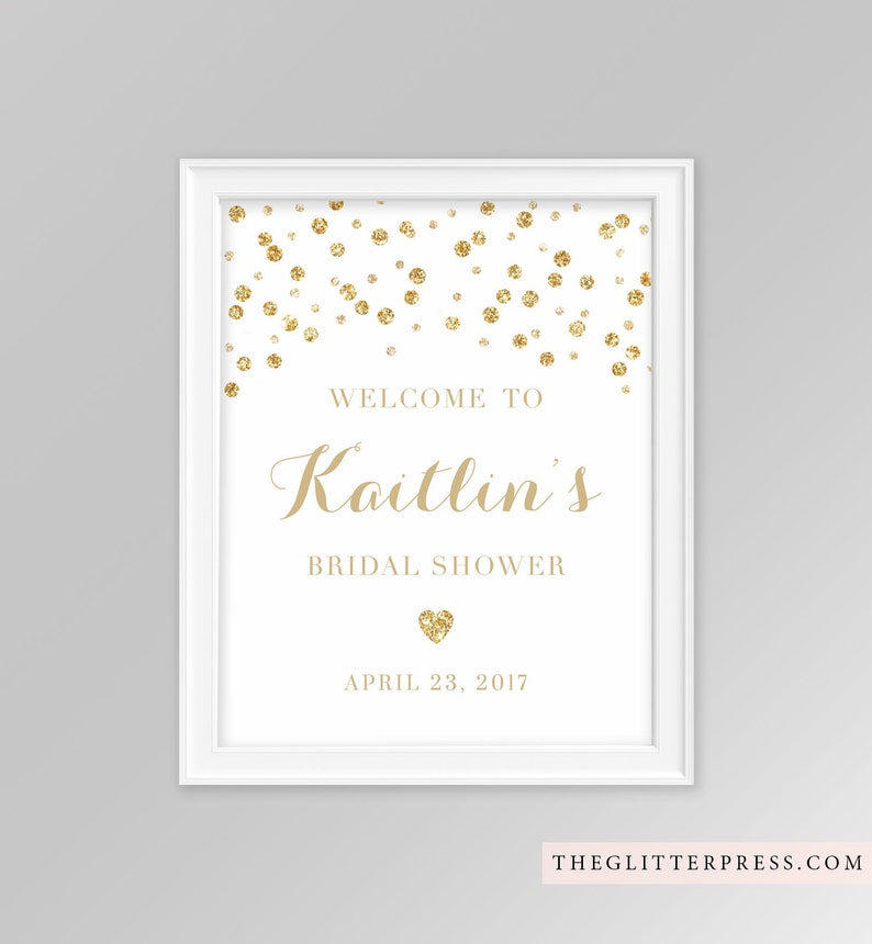 Gold Glitter Confetti Shower Welcome Sign 8x10 printable image 0