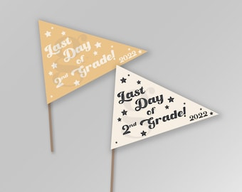 Last Day of Second Grade 2nd Grade Two End of Year Last Day of School Summer Pennant Flags Printable Banner Instant Download