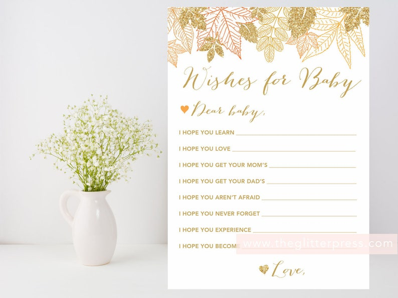 Gold Fall Leaves Wishes for baby Printable printable fall image 0
