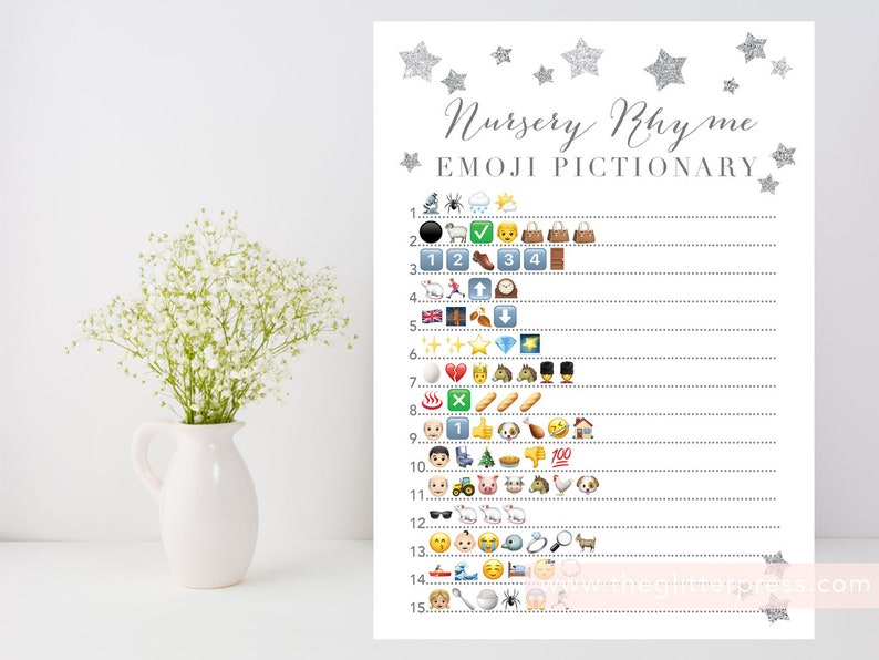 Nursery Rhyme Quiz Emoji Pictionary printable game Twinkle image 0