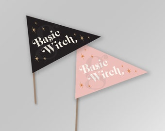 Basic Witch Printable Halloween Fall Autumn Pennant Flags Printable Sign Banner Instant Download