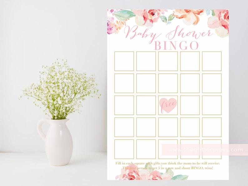 Baby Shower Bingo Printable Floral watercolor shower game image 0