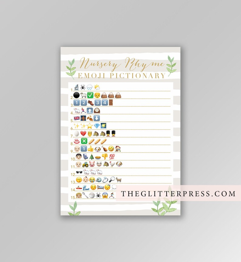 Neutral Baby shower game Nursery Rhyme quiz Emoji Pictionary image 0