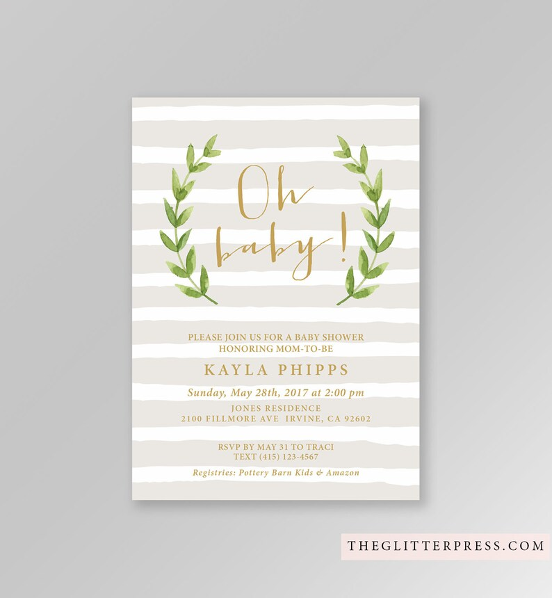 Simple Neutral Baby Shower Invitation Printable Custom image 0