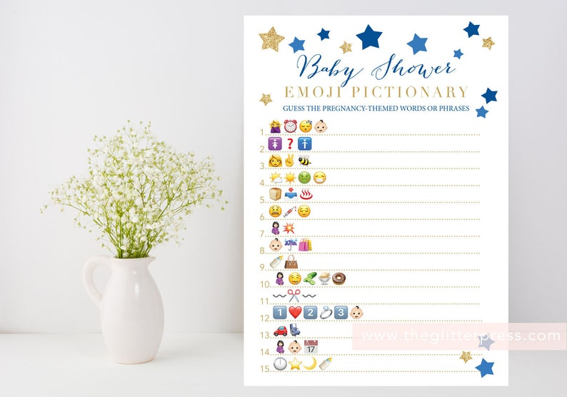 Baby Shower Emoji Pictionary printable Twinkle Star baby boy image 0