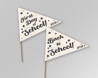 First Day of School Back to School Pennant Flags Printable Banner Instant Download
