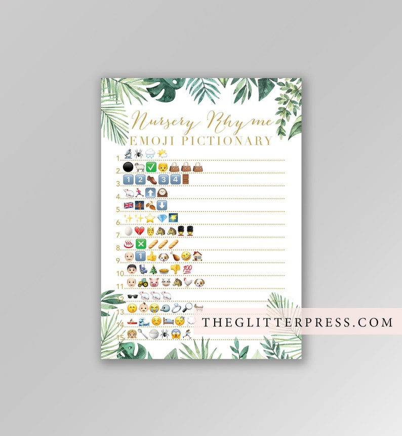 Nursery Rhyme Emoji Pictionary printable Gold white green image 0