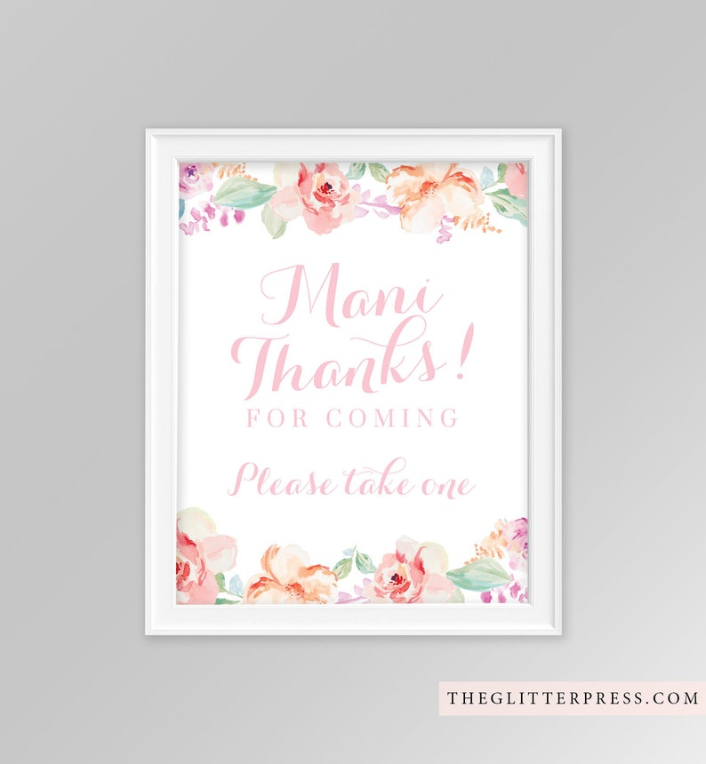 Printable Mani Thanks for coming sign 8x10 floral watercolor image 0