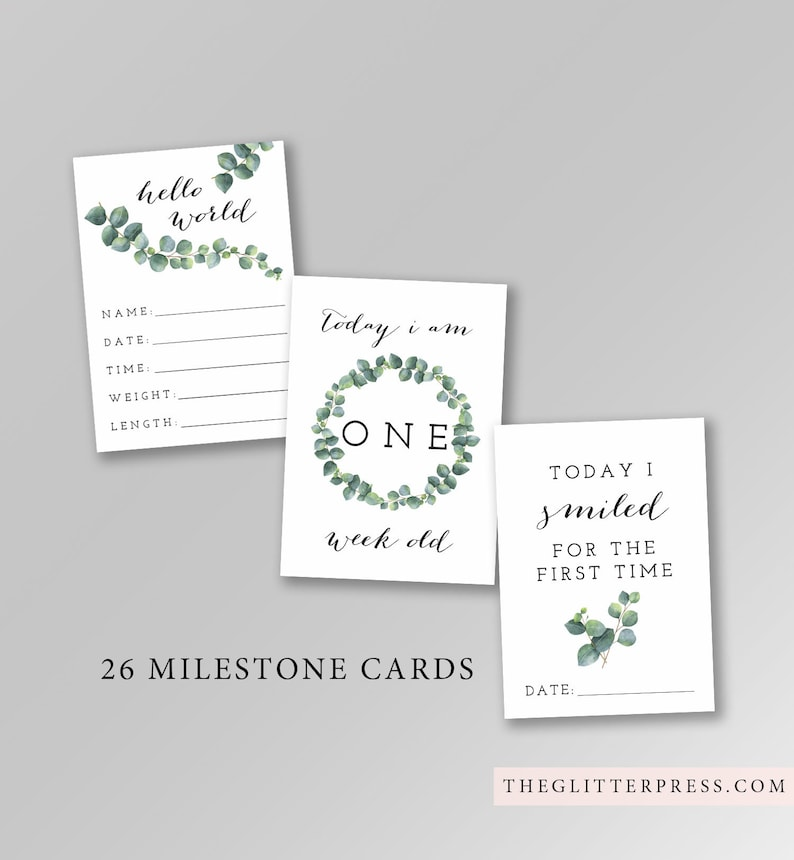 Printable Baby Milestone Month Cards Set of 26 signs image 0
