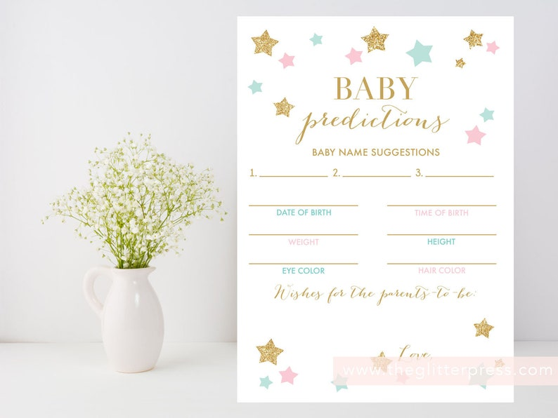 Baby predictions printable Twinkle little star baby shower image 0