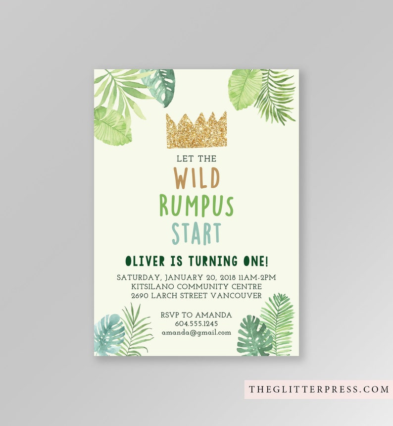 Where the Wild Things Are First Birthday Invite Printable Let image 0