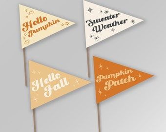 Fall Autumn Pennant Flags Printable Back to School Pumpkin Patch Hello Fall Sweater Weather Sign Banner Instant Download