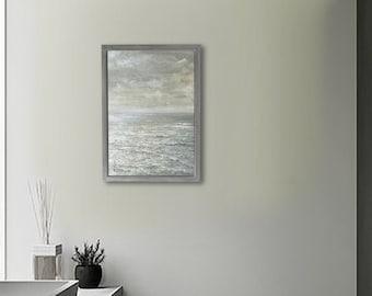 "Acrylic Original Painting   "" Sea ""    With handmade frame     by Tetsuhiro Wakabayashi"