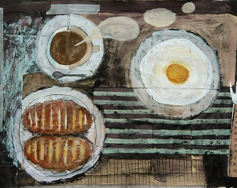 Mixed Media Original - Peaceful breakfast