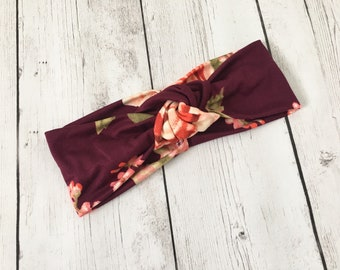 Burgundy Floral Headwrap, Women's Headband, Knot, Turban, Running Headband, Fitness, Yoga, Pilates, Gift, Wide Headwrap