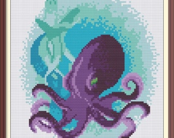 Octopus Sea Animal Counted Cross Stitch Pattern PDF Chart Colorful Cross Stitch Pattern Instant Download