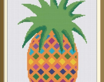 Pineapple in Bright Colors - Counted Cross Stitch Pattern - PDF Chart - Colorful Pattern