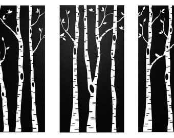 Triptych of Birches in Black&White Counted Cross Stitch Pattern PDF Chart Unique Original Modern Design