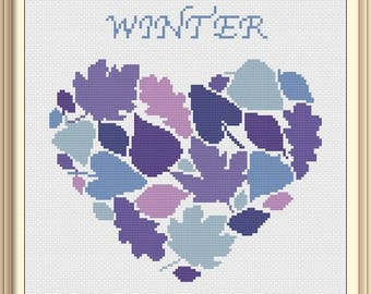 Heart Winter Leaves Modern Cross Stitch Pattern PDF Chart Instant Download Colorful Heart in Silver Purple Valentine's Day