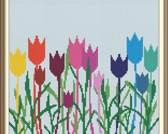 Tulips Modern Cross Stitch Pattern PDF Chart Silhouette Cross Stitch Colorful Design