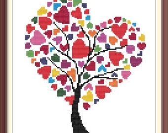 Hearts Modern Cross Stitch Pattern PDF Chart Instant Download Colorful Hearts with Tree Valentine's Day