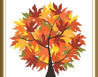 Autumn Tree Modern Cross Stitch Pattern PDF Chart Instant Download Original Design in Fall Colors