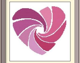 Heart Pink Modern Cross Stitch Pattern PDF Chart Instant Download Original Cross Stitch Valentine's Day